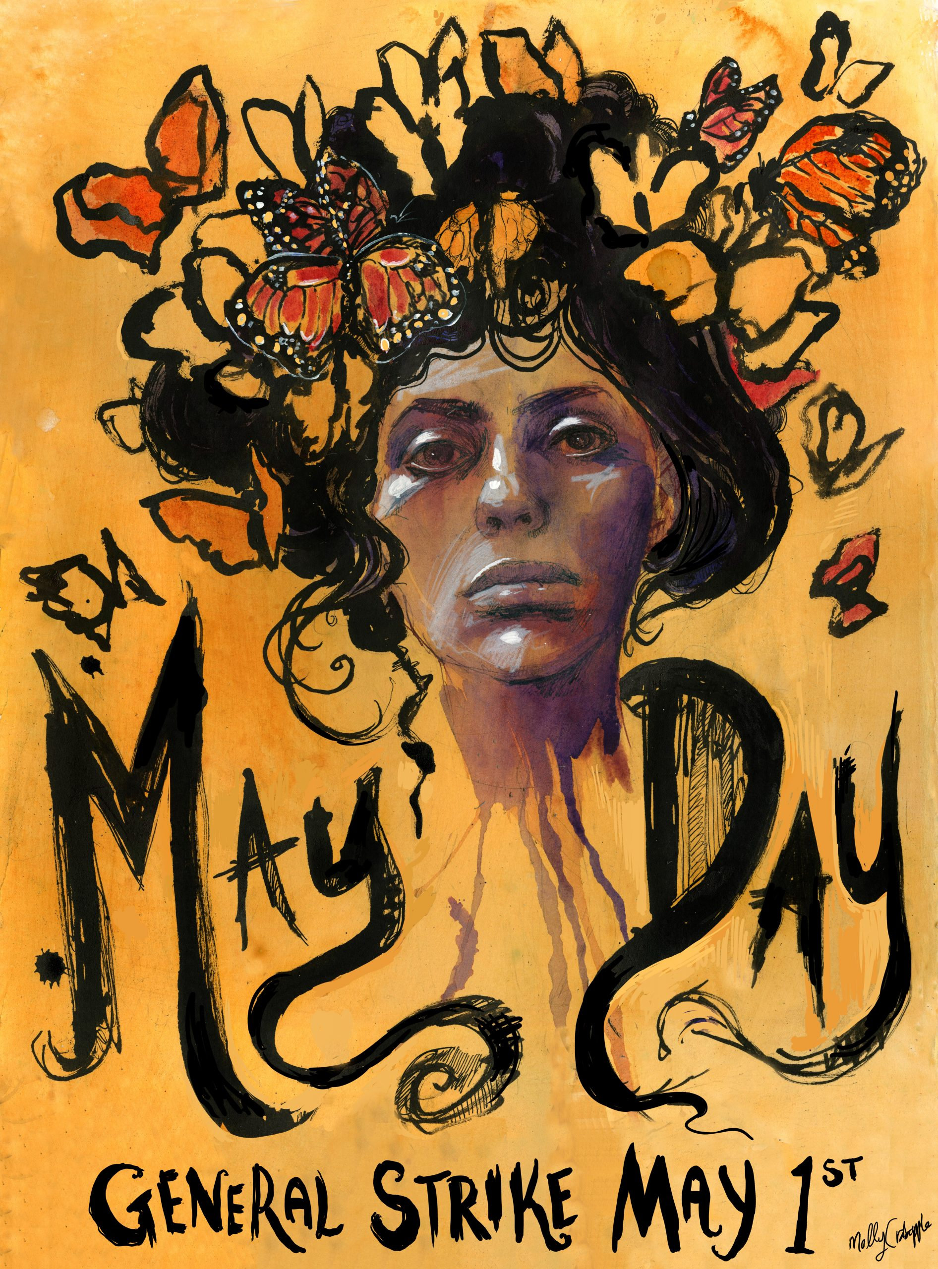 may day poster woman with butterflies